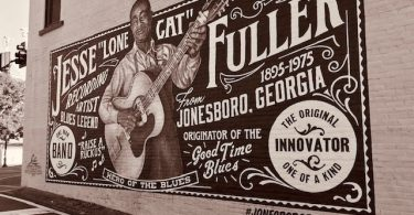 Jesse Fuller mural in downtown Jonesboro, GA